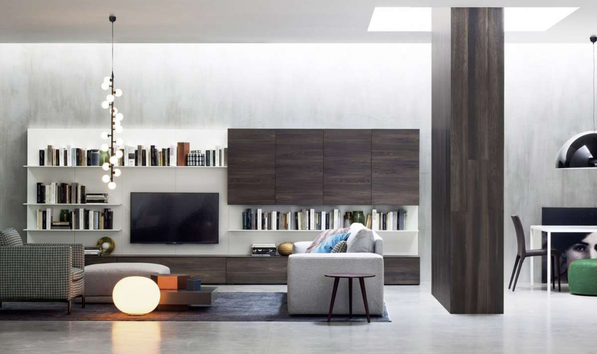 Excellent libreria con moduli sospesi e spazio per tv with for Mensole quadrate ikea